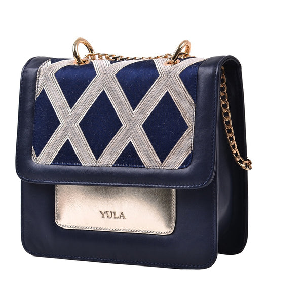 1917 Nelia Medium Shoulder Bag - Blue & Gold