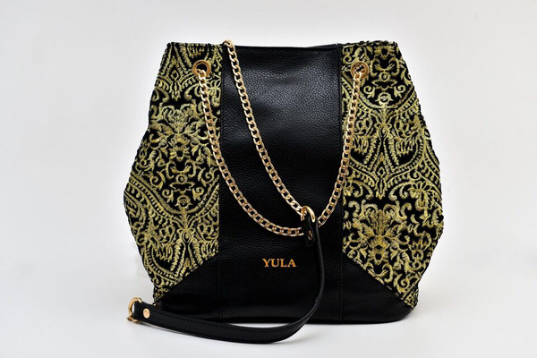 Sophia Bucket Bag - Black / Gold Embroidery Fabric