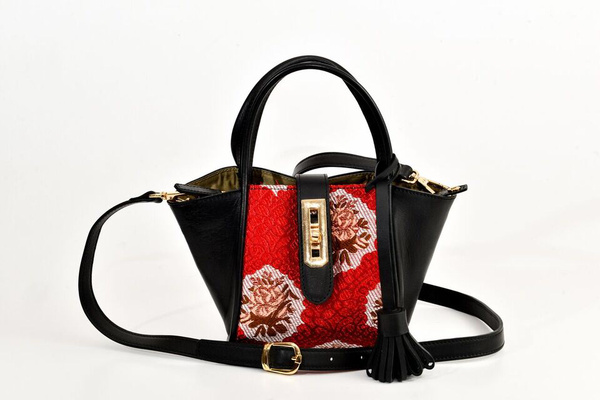 Lumsi Small Satchel Bag - Red Traditional Woven Fabric