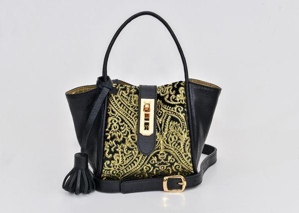 Lumsi Small Satchel Bag - Gold Embroidery Fabric