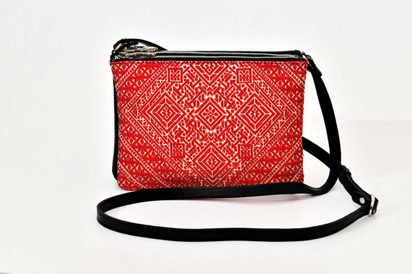 FAY Triple -zip Crossbody Bag - Red Traditional woven Fabric