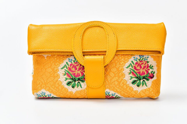 Casablanca Foldover Clutch - Yellow