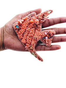 Extra large embroidered coral fish statement broach pin - beads-of-aquarius