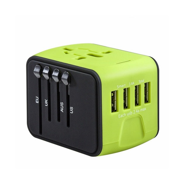 Agatha Travel International Plug Adapter Green