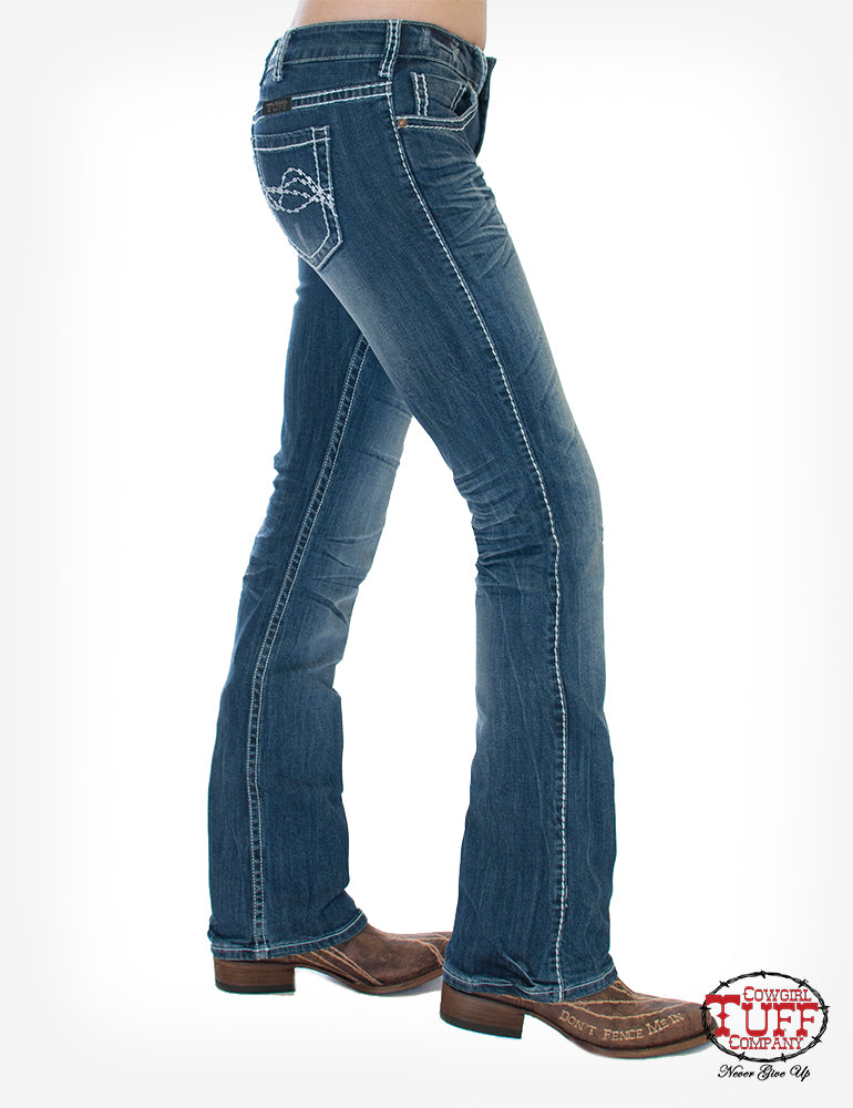 'Cowgirl Tuff' JEDGYJ - Edgy Bootcut Jeans - Medium Wash