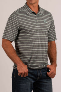 'Cinch' MTK1829007 - SS ArenaFlex Polo Shirt - Heather Grey / Seafoam Green