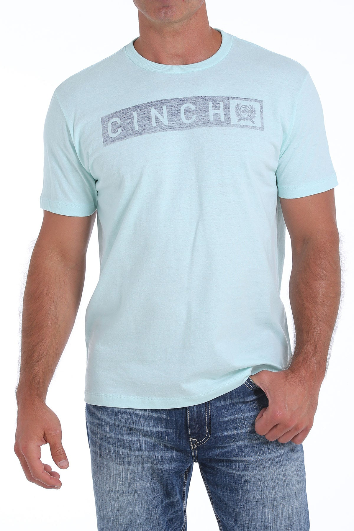 'Cinch' - MTT1690343 - SS Jersey Crew Neck T-shirt - Heather Lt. Blue