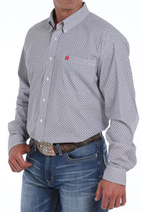 'Cinch' MTW1104828 - LS Button Down Shirt - White / Print