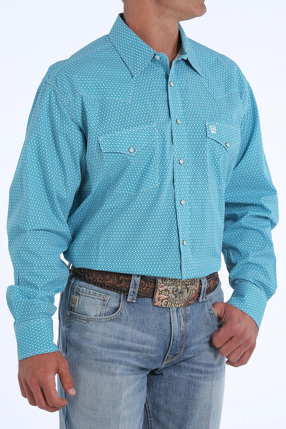 'Cinch' MTW1682011 - LS Button Down Plaid Shirt - Teal