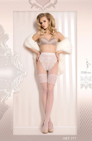 Image of White Floral Lace Pantyhose