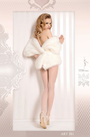 Image of White Pantyhose with Silver Detailing
