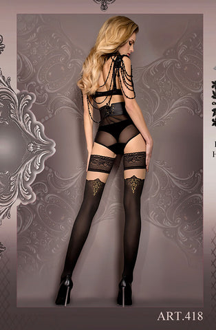 Black/Nude Thigh High Stockings
