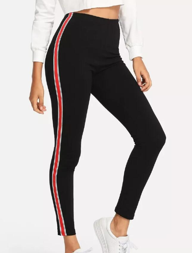 Stripe Tape Side Jeans Streetwear Red and White Casual Trousers