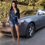 Women Sexy Holes Jeans Dress Buttons Up Turn Down Collar Long Sleeve Denim Mini Night Club Party Dresses