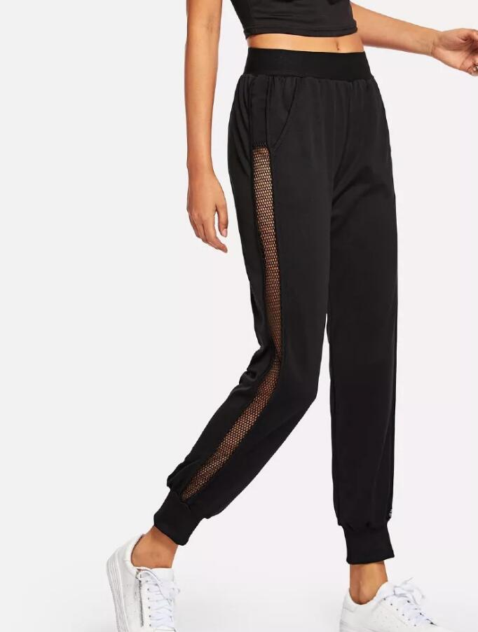 Mesh Webbing Trousers Sports Casual Color Pants