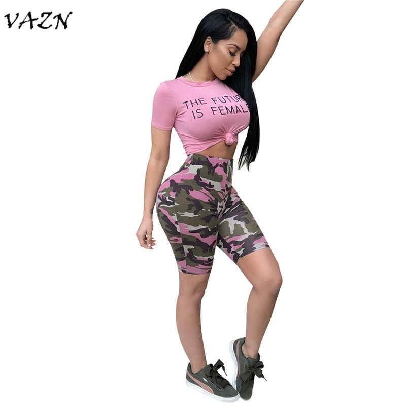 VAZN 2018 New Arrive Famous Brand Casual 2 piece Set Women Solid O-Neck Short Sleeve Camouflage Short Pants Bodycon Set 3450