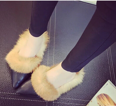 Real Rabbit Fur Slippers Winter Casual Shoes Pointed Toe Women Sandals Cotton-Padded Female Home Slippers Black Sandalia