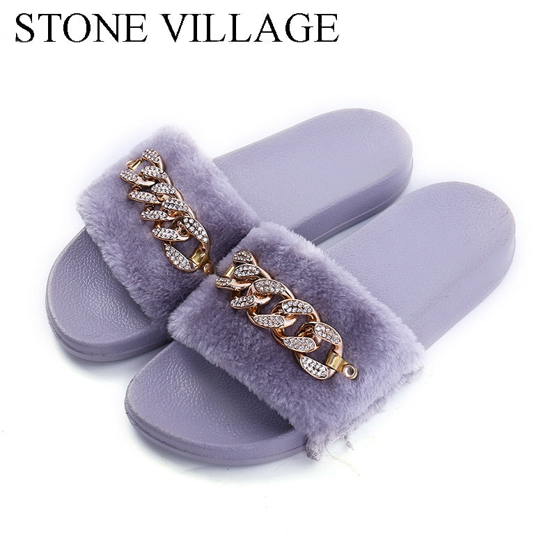 STONE VILLAGE 2019 New Women Slippers rhinestone Chain Fur Slippers Shoes solid Slip on flat Fur Fluffy Sliders shoes woman