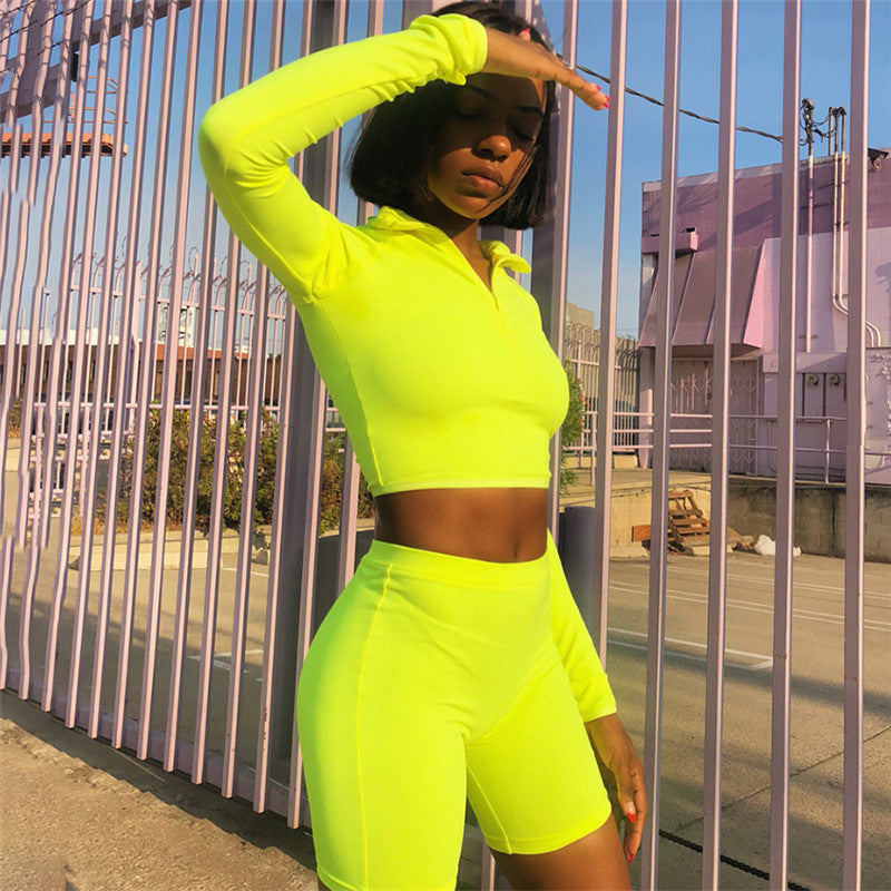 MisDream Fluorescence Fitness Two Pieces Set Women Bodycon Long Sleeve Top Tracksuit Shorts Sets Casual 2 Pieces Set Sportswear