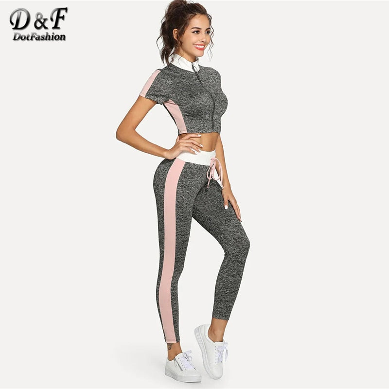 Dotfashion Grey O-Ring Zip Up Crop Top And Wide Waist Leggings Set Women 2019 Casual Short Sleeve Summer Two Piece Set Outfits