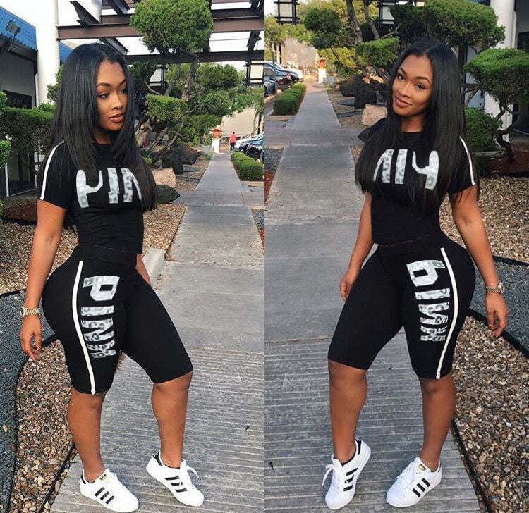 Casual Pink Letter Print Women Two Piece Set 2019 New Summer Rompers Sexy Striped T-Shirts And Skinny Pants 2pcs Outfits