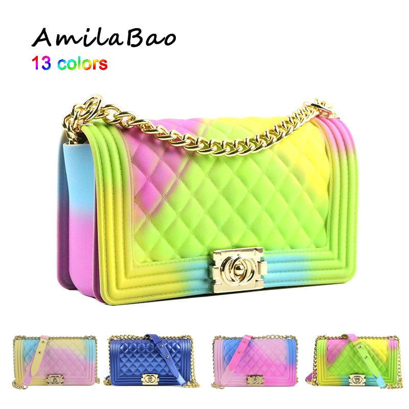 crossbody bags for women  2018 Summer candy colored luxury bags PVC Silicone jelly shoulder Messenger Bags Chains girl ME849