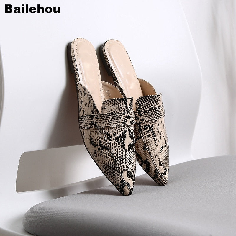Bailehou Women Spring Flats Mules Shoes Serpentine Pointed Toe Lady Sandal Slip On Slides Cozy Slippers Female Summer Flip Flops