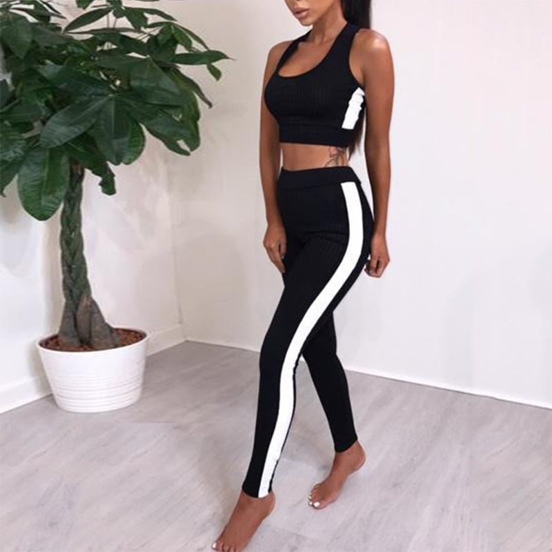 2019 Fashion Striped Tracksuit Women's Fitness Set Two Piece Sportswear Vest Pants Suits High Waist Elastic Legging Tracksuit Y6