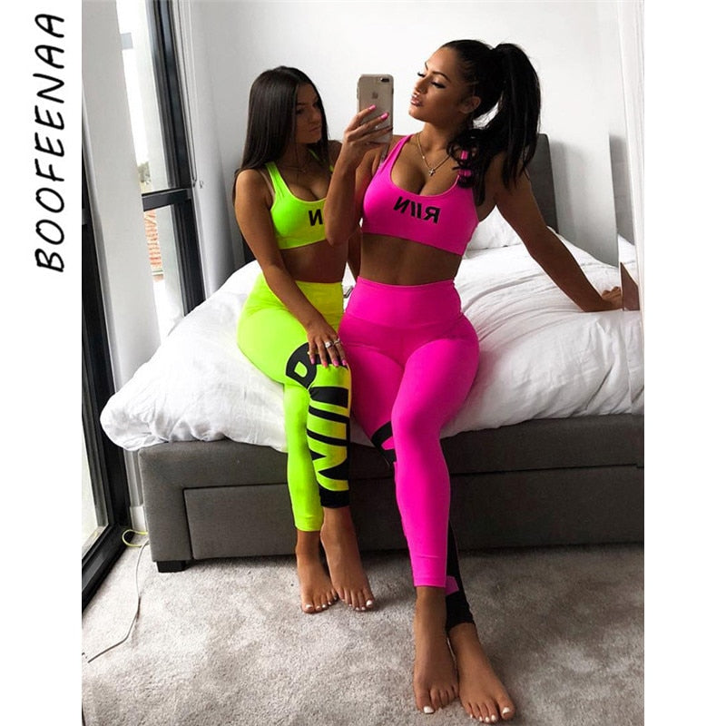 BOOFEENAA Letter Neon Bodycon Two Piece Set Summer 2piece Leggings Crop Top and Pant Suits for Women Clothes Tracksuit C87-AF04
