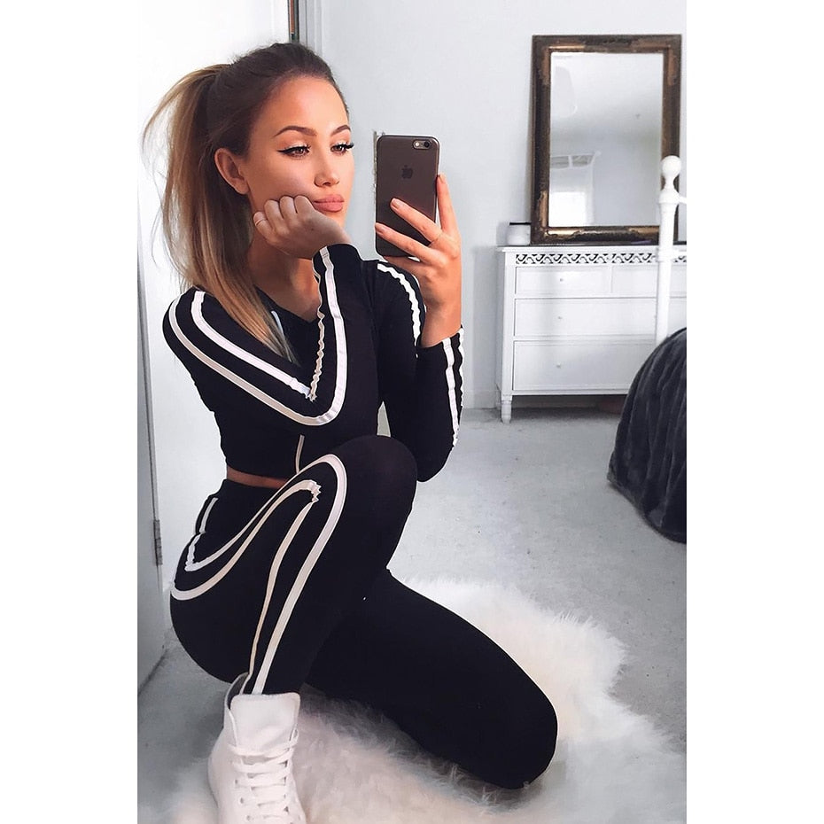 ZOGAA Brand 2019 Women Two Piece Set Casual Sport Suit Fitness Sexy High Waist Leggings Tracksuit 2 Piece Set Women Outfits