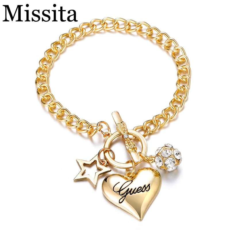 Missita New Fashion Silver Gold Color Women Jewelry Crystal Cuff Charm Bangle Chain Pendant Bracelet For Valentine's Day Gift