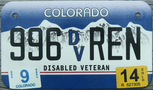 COLORADO DISABLED VETERAN 2014 996REN