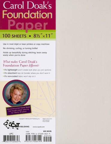 "Carol Doak's Foundation Paper, 8 1/2 x 11"" for Paper Piecing, 100 sheets, Printer Friendly"