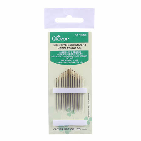 Gold Eye Embroidery Needles (No. 3-9) from Clover #235