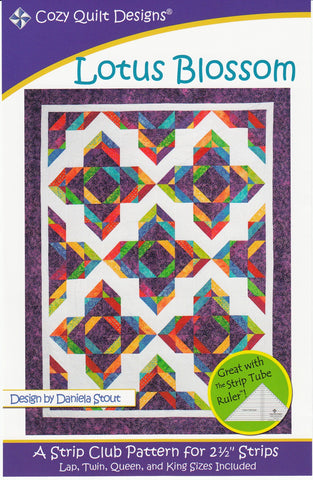 "Lotus Blossom: A Strip Club Pattern for 2 1/2"" Strips by Cozy Quilt Designs # CQD01045"