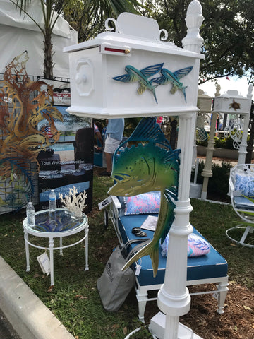 CUSTOM PAINTED MAHI DOLPHIN w/flying fish Inserts HIGH QUALITY CAST ALUMINUM MAILBOX