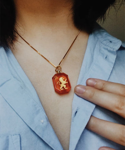 Leo Necklace - Red Zodiac Birthstone Crystal Pendant Necklace - Wearing on Model