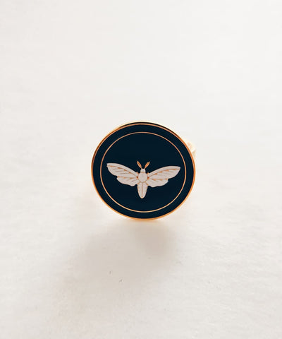 Moth Ring - Gold Coin Ring, Enamel Ring, Animal Spirit Ring, Black and White Animal Ring - Front