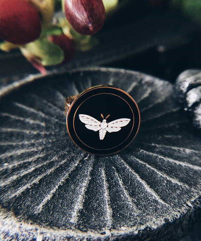 Moth Ring - Gold Coin Ring, Enamel Ring, Animal Spirit Ring, Black and White Animal Ring - On ritual altar - occult ring