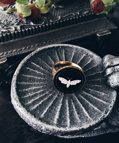 Moth Ring - Gold Coin Ring, Enamel Ring, Animal Spirit Ring, Black and White Animal Ring - On ritual altar - occult ring - 2
