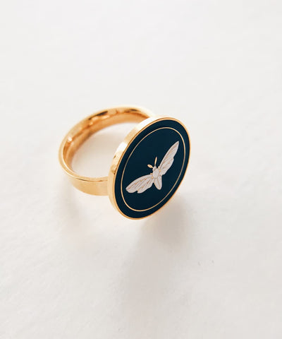 Moth Ring - Gold Coin Ring, Enamel Ring, Animal Spirit Ring, Black and White Animal Ring - Quarter