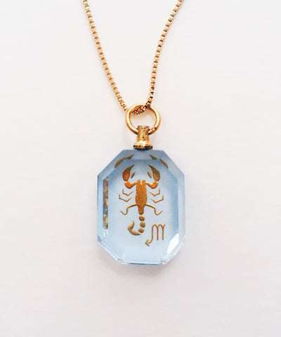 Scorpio Necklace - Blue Zodiac Birthstone Crystal Pendant Necklace - Back Crystal Pendant