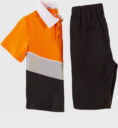 Boys Junior Golf Short Sleeve Orange Grey Black Performance Polo Shirt and Black Performance Short