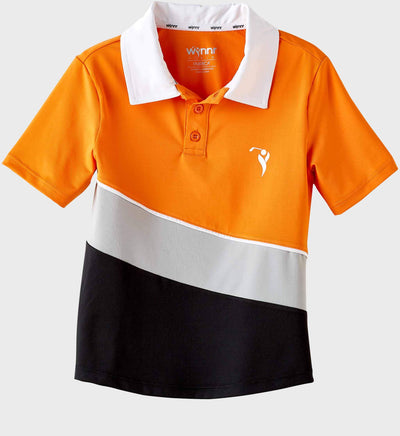 Boys Junior Golf Short Sleeve Orange Grey Black Performance Polo Shirt
