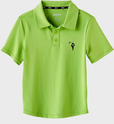 Boys Junior Golf Short Sleeve Bright Green Performance Polo Shirt