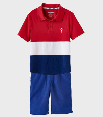 Boys Junior Golf Short Sleeve Red White Navy Performance Polo Shirt and Navy Short