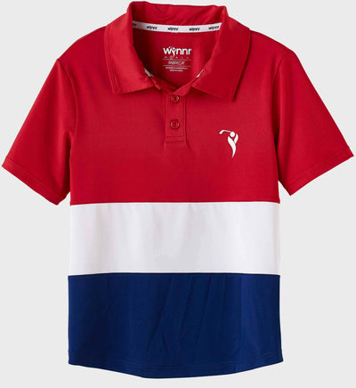 Boys Junior Golf Short Sleeve Red White Navy Performance Polo Shirt