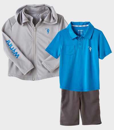 Boys Junior Golf Grey Performance Hoodie and Blue Performance Polo Shirt and Grey Performance Short