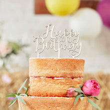 Laden Sie das Bild in den Galerie-Viewer, Cake Topper Happy Birthday Holz