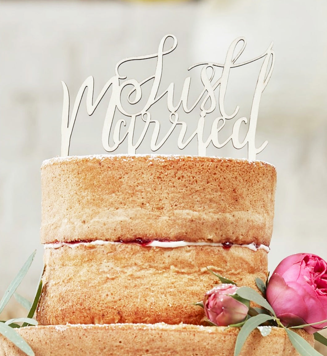 Just Married Cake Topper Holz